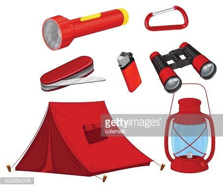 Camping equipments in red color