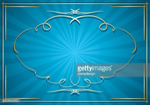 blue background with rays and gold frame - vector