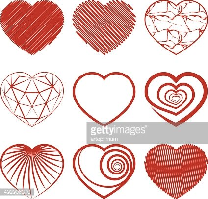 Set of heart shapes icons. Vector