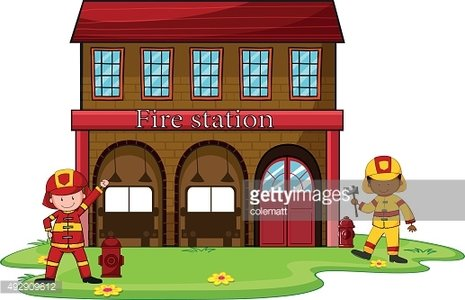 Firemen working at fire station