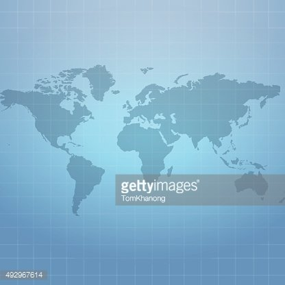 Wold map on soft blue net background