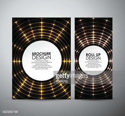 Abstract yellow circle shining. Brochure design template or roll up.