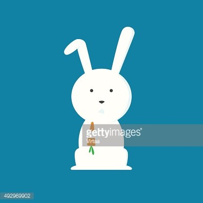 Rabbit with carrot, flat design style vector illustration