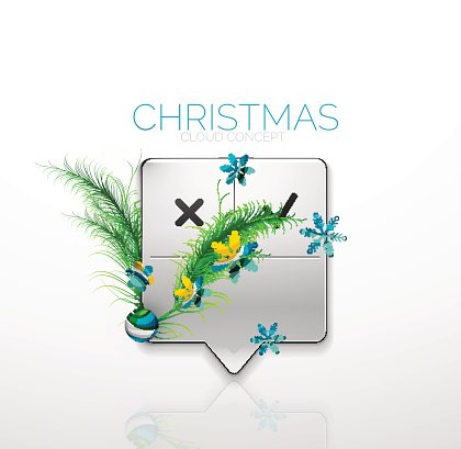 Modern abstract speech bubble with Christmas decoration
