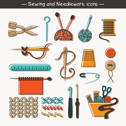 Sewing and needlework icons.