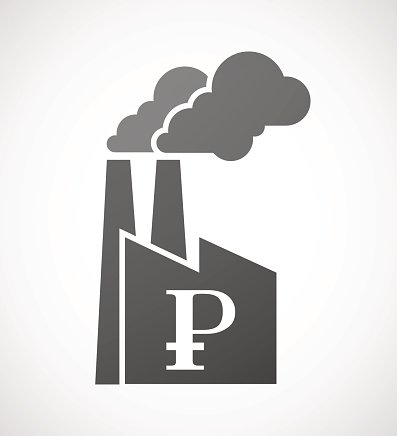 Factory icon with a ruble sign