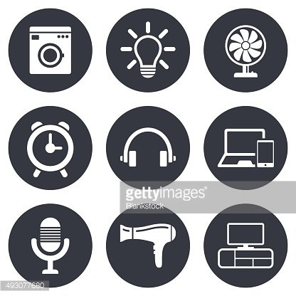 Home appliances, device icons. Ventilator sign