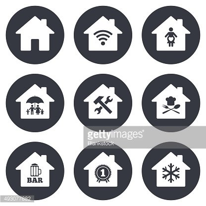 Real estate icons. Home insurance sign