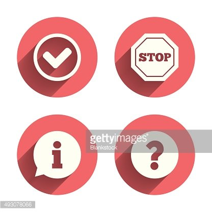 Information icons. Stop prohibition symbol