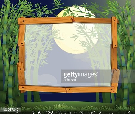 Border design bamboo forest night