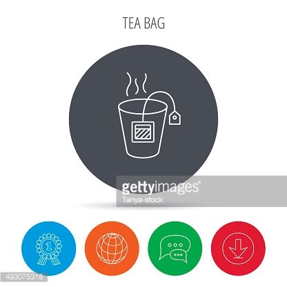 Tea bag icon. Natural hot drink sign.