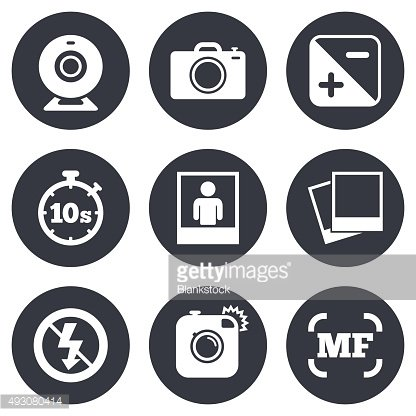 Photo, video icons. Camera, photos and frame