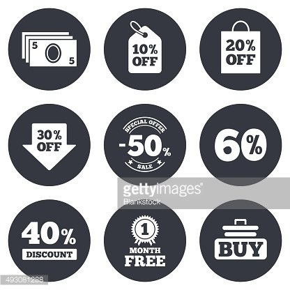 Sale discounts icon. Shopping, deal signs