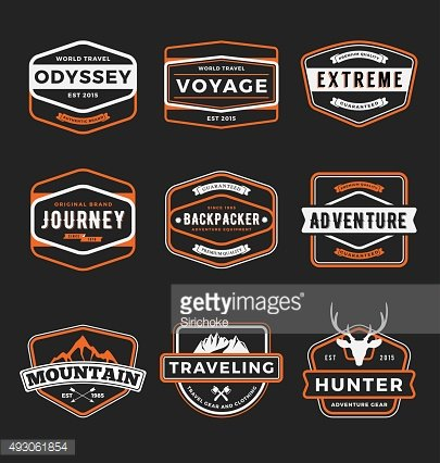Set of badge logo outdoor adventure and traveling gear