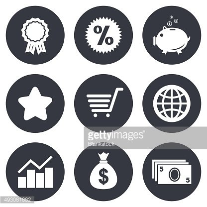 Online shopping, e-commerce and business icons