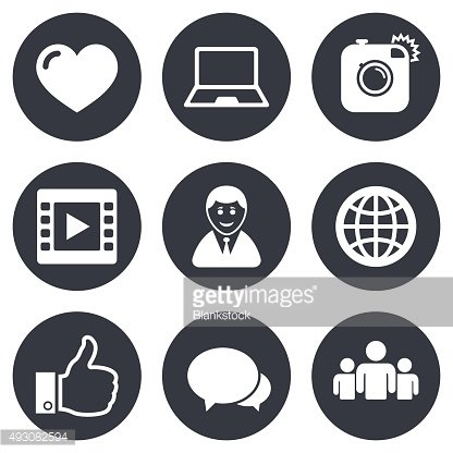 Social media icons. Video, share and chat signs