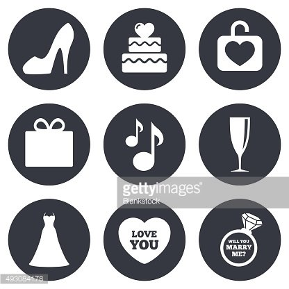 Wedding, engagement icons. Cake, gift box