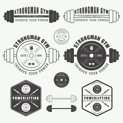 Set Of Gym Logo Labels Badges And Elements Clipart Image