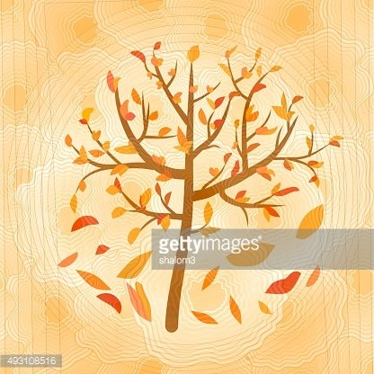 Autumn tree with falling yellow and red leaves