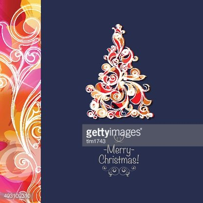 Square christmas greeting card with bright christmas tree