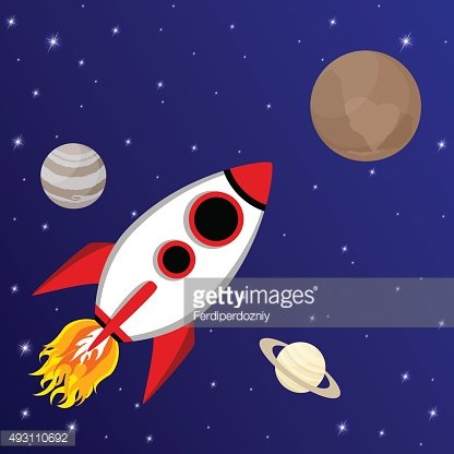 Cartoon rocket flying to Pluto