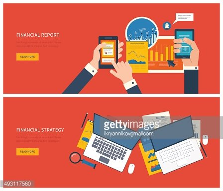 Concept of analyzing project, financial report, analytics, market research