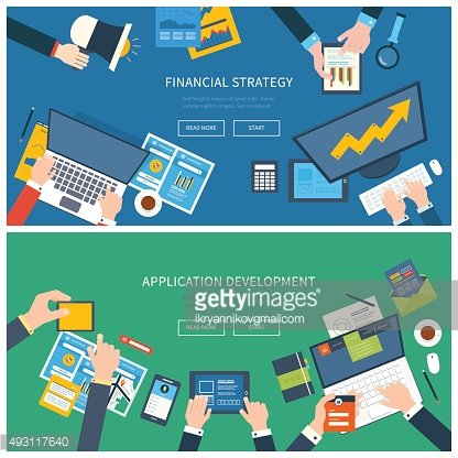 Concepts for financial report, teamwork, project management and application development