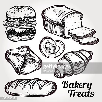 Baker shop and pastry icons set in vintage style.