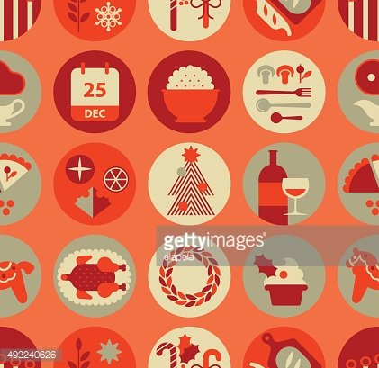Seamless Background with Christmas food