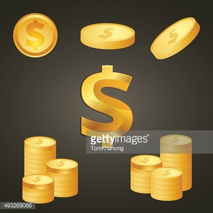 Coins and dolla sign gold color