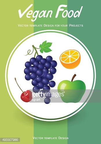 Brochure cover design with fruits icons