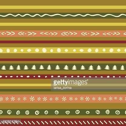 Christmas retro color pattern with snowflakes, tree, stars