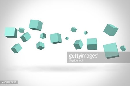 Turquoise cubes suspended in the air