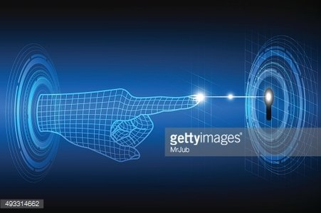 Technology abstract of privacy and security concept with finger scanner
