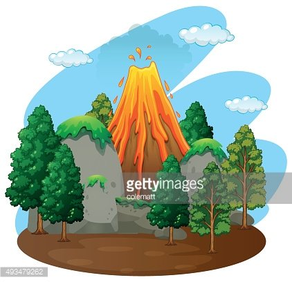 Nature scene volcano eruption