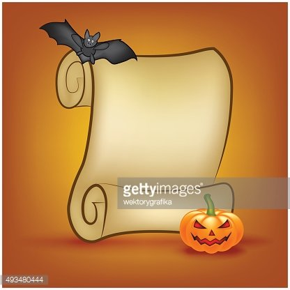 Halloween banner, card with empty paper scroll