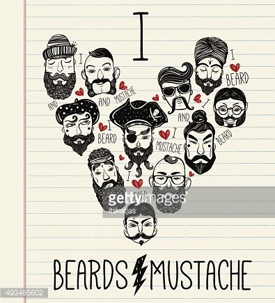 Hand drawn set of men f with stylish facial hair.