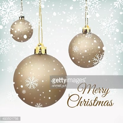 Cristmas Tree decorations on winter background