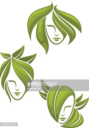 Abstract portraits of women with green leaves