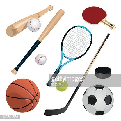 set with sports equipment