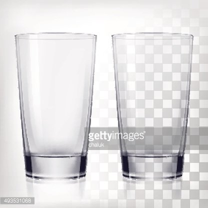 Empty drinking glass cups mock-up