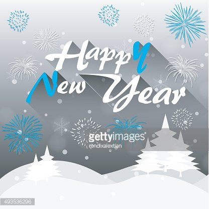 Happy New Year greeting card in winter background