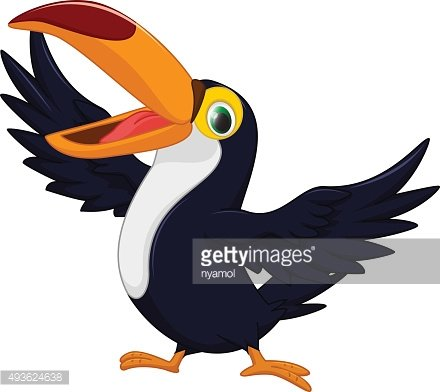 happy toucan bird cartoon