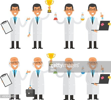 Scientists in different poses