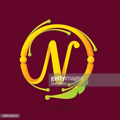 N letter monogram design elements