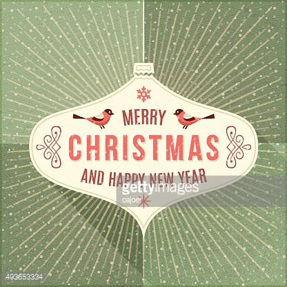 Beige Label with Christmas Greeting on a Green Background