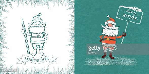 vintage santa claus christmas template with pen and signboard