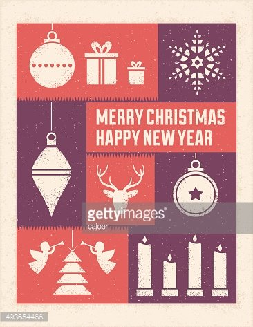 Textured Christmas Card with Stylized Ornaments