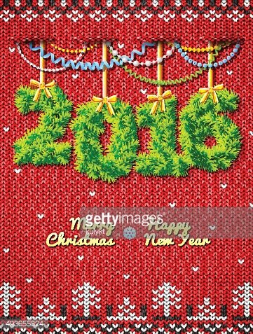New Year 2016 of twigs as christmas decoration