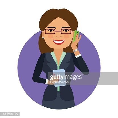 Businesswoman in glasses talking on phone